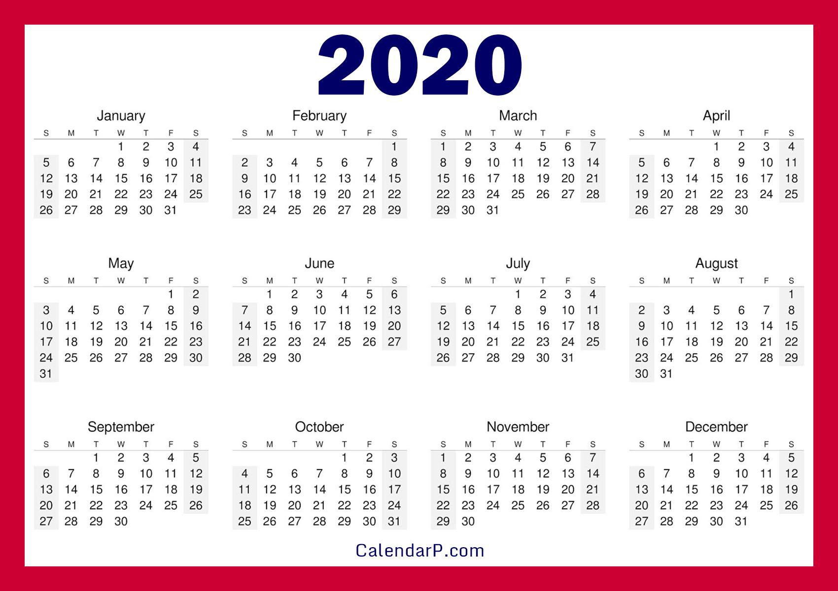Free Calendar 2020.Printable Free 2020 Calendar Horizontal Red Calendarp