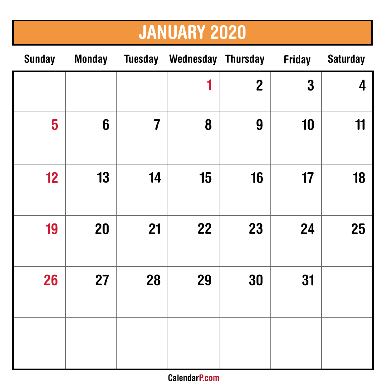 photograph relating to Printable Monthly Calendars Free named 2020 Every month Planner Printable Cost-free Sunday Start off, Orange