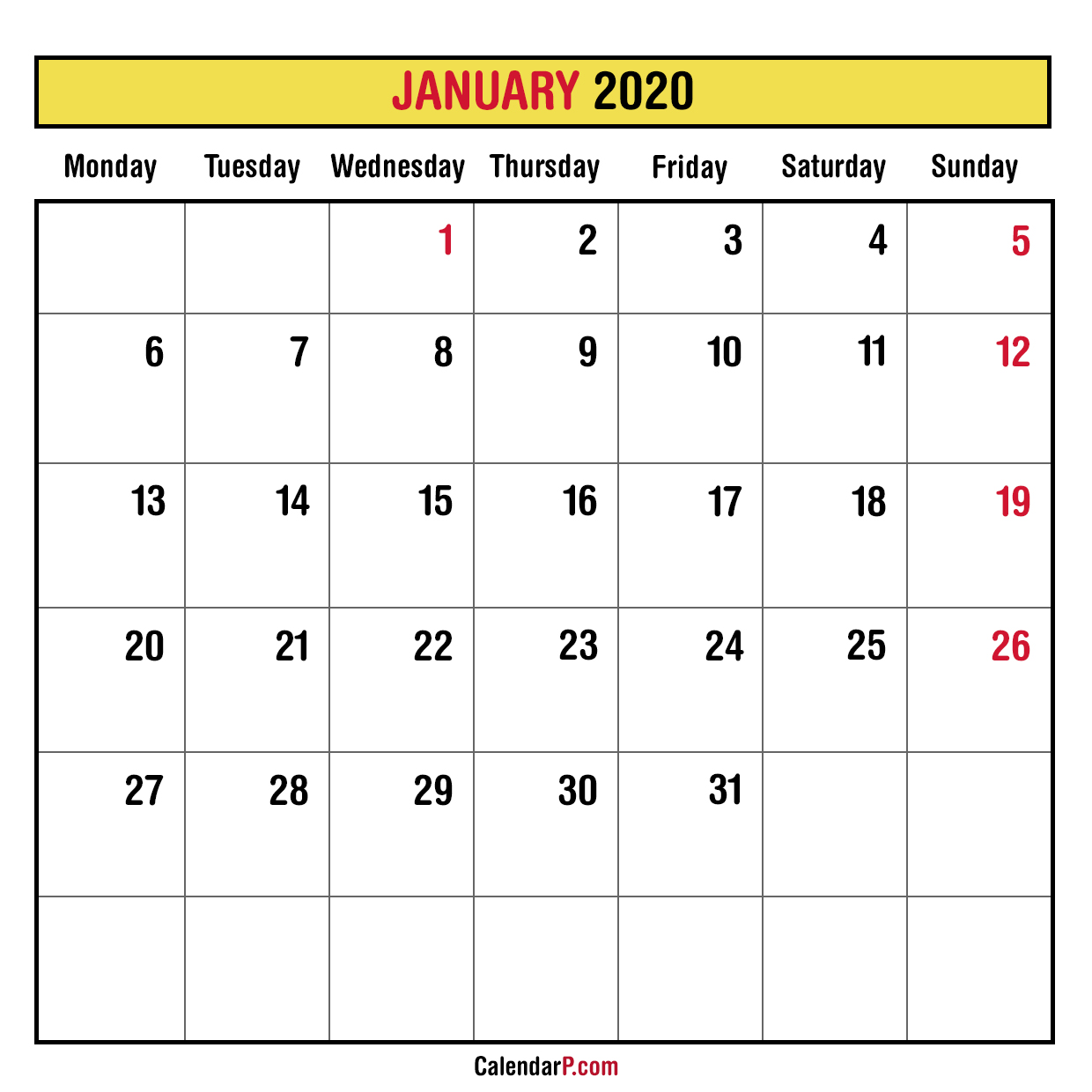 2020 Monthly Planner Printable Free – Monday Start, Yellow