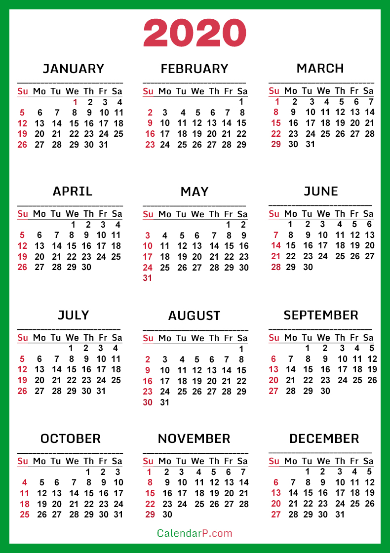 Free Printable 2020 Calendar With Karnataka Holidays