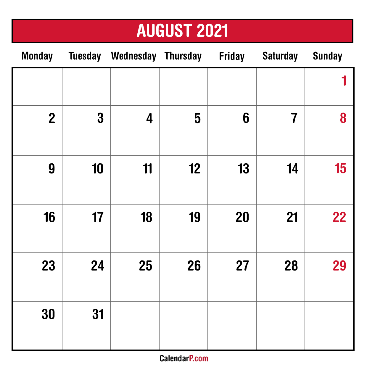 2021 Monthly Planner Printable Free - Monday Start, Red ...