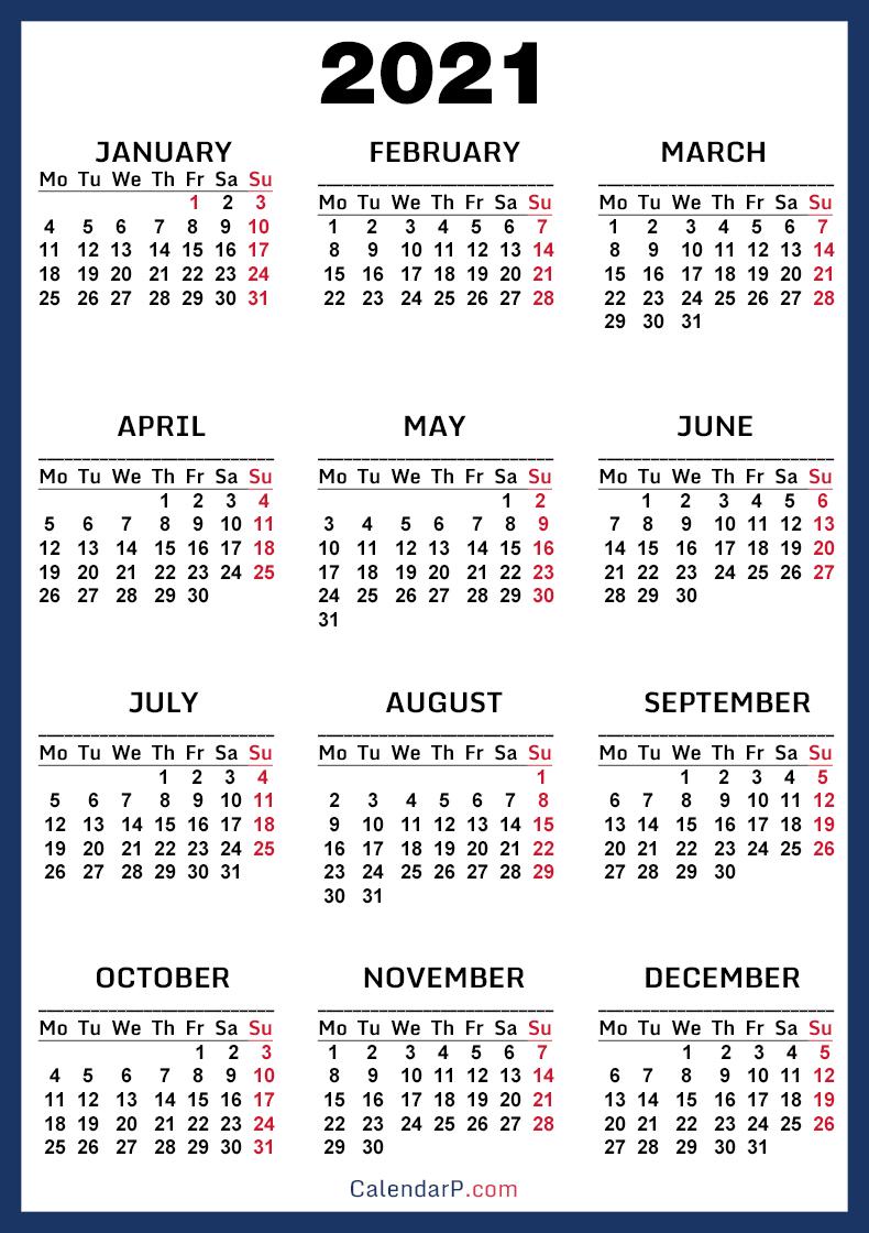 2021 Calendar, Printable Free, Blue - Monday Start ...