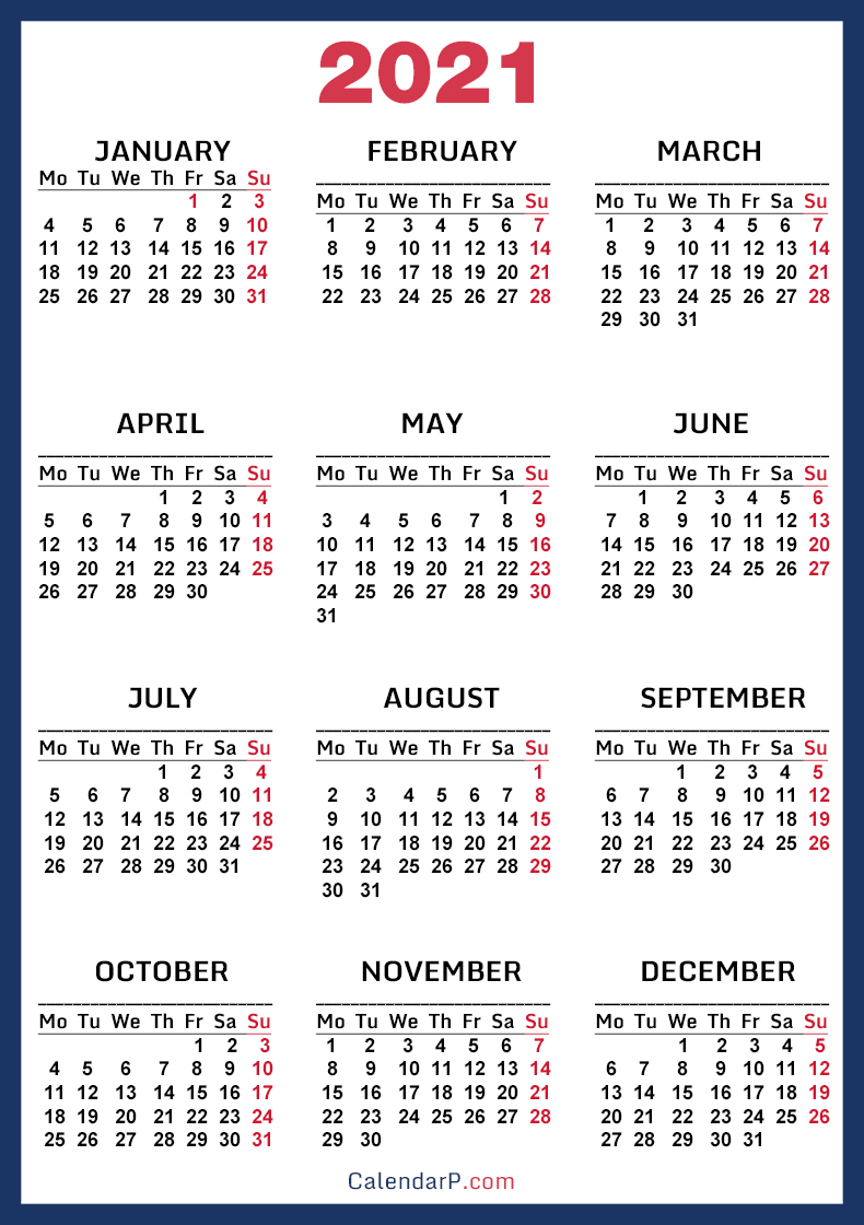 2021 Calendar, Printable Free, Blue - Monday Start ...