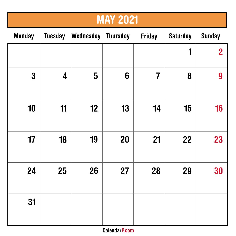 2021 Monthly Planner Printable Free - Monday Start, Orange ...