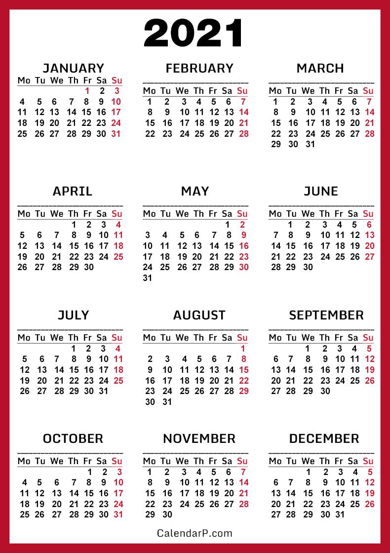 2021 Calendar, Printable Free, Red - Monday Start ...