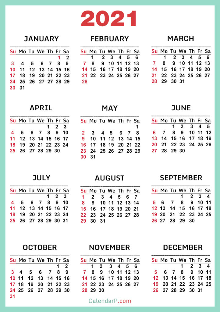 2021 Calendar, Printable Free, Turquoise, Red - Sunday ...