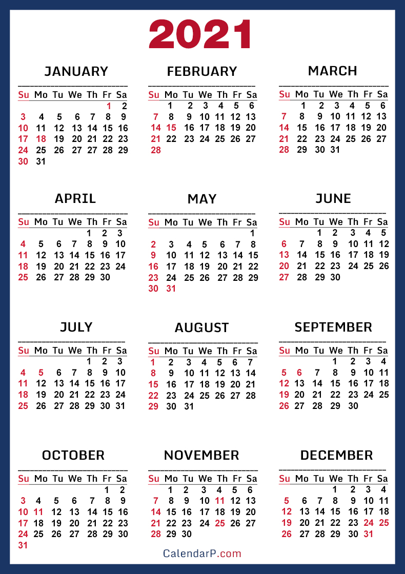 2021 Calendar with US Holidays, Printable Free, Blue – Sunday