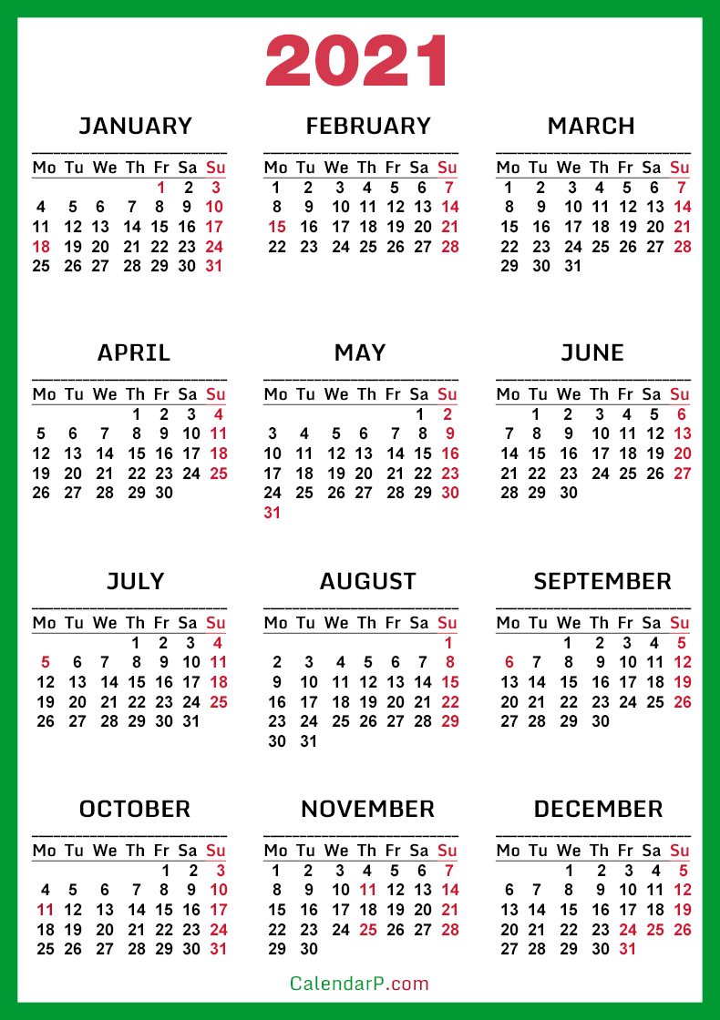 2021 Calendar with US Holidays, Printable Free, Green ...