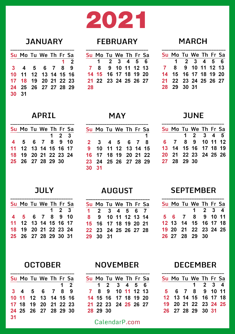Pictures of Us Calendar 2021 With Holidays