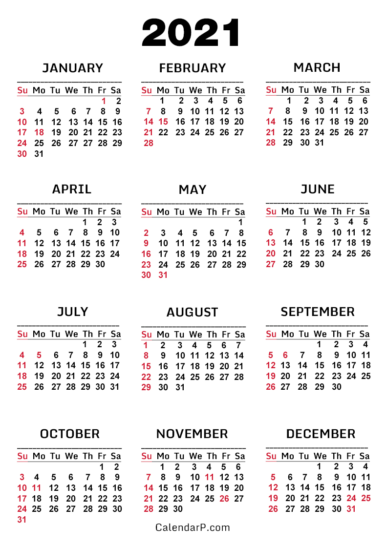 2021 Calendar with US Holidays, Printable Free, White ...