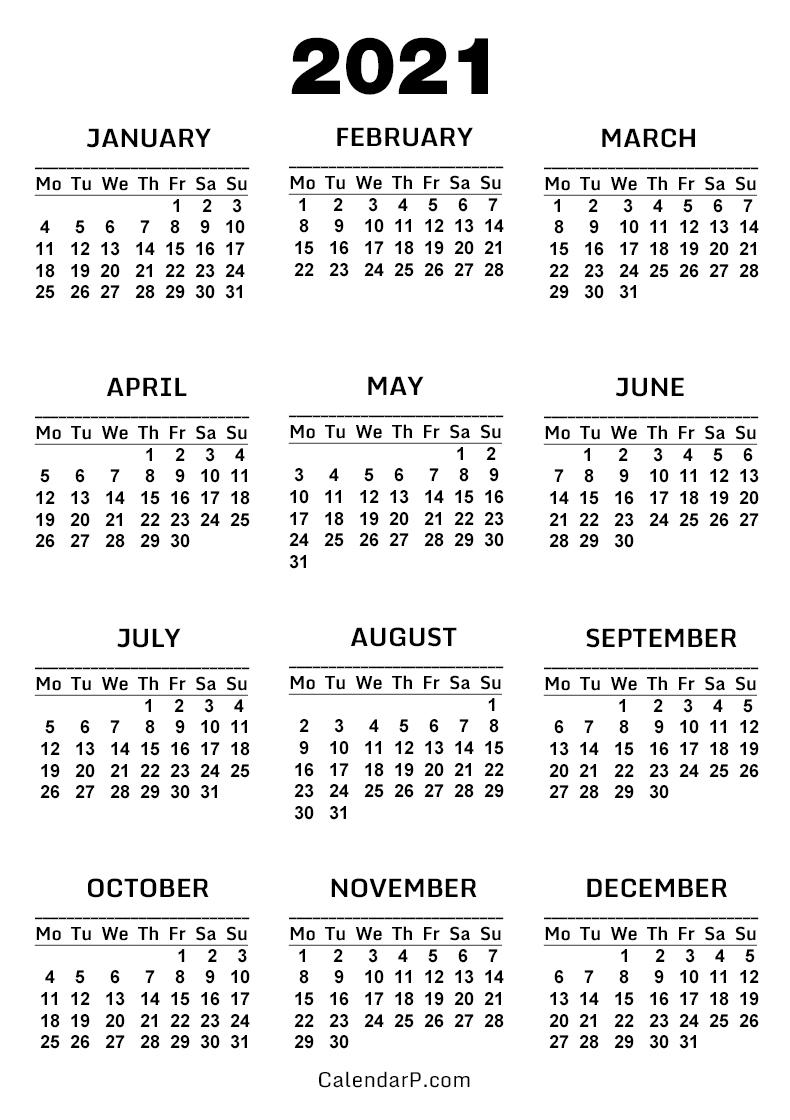 2021 Calendar, Printable Free, White - Monday Start ...