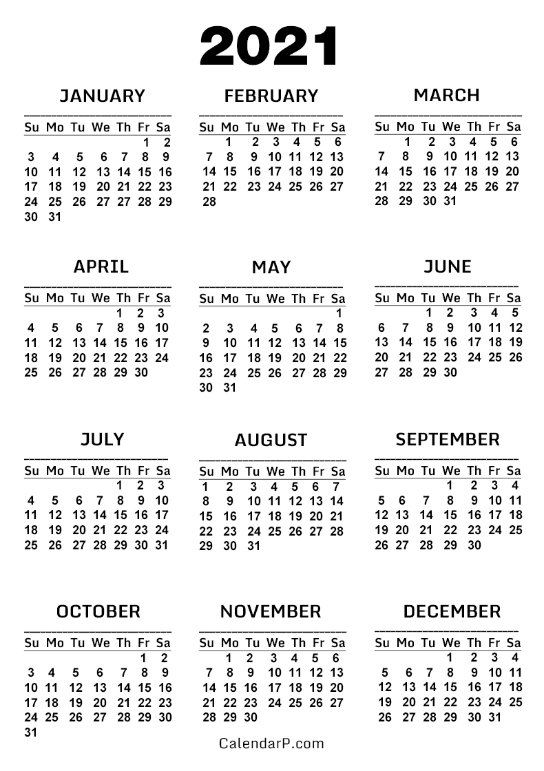 2021 Calendar, Printable Free, White - Sunday Start ...