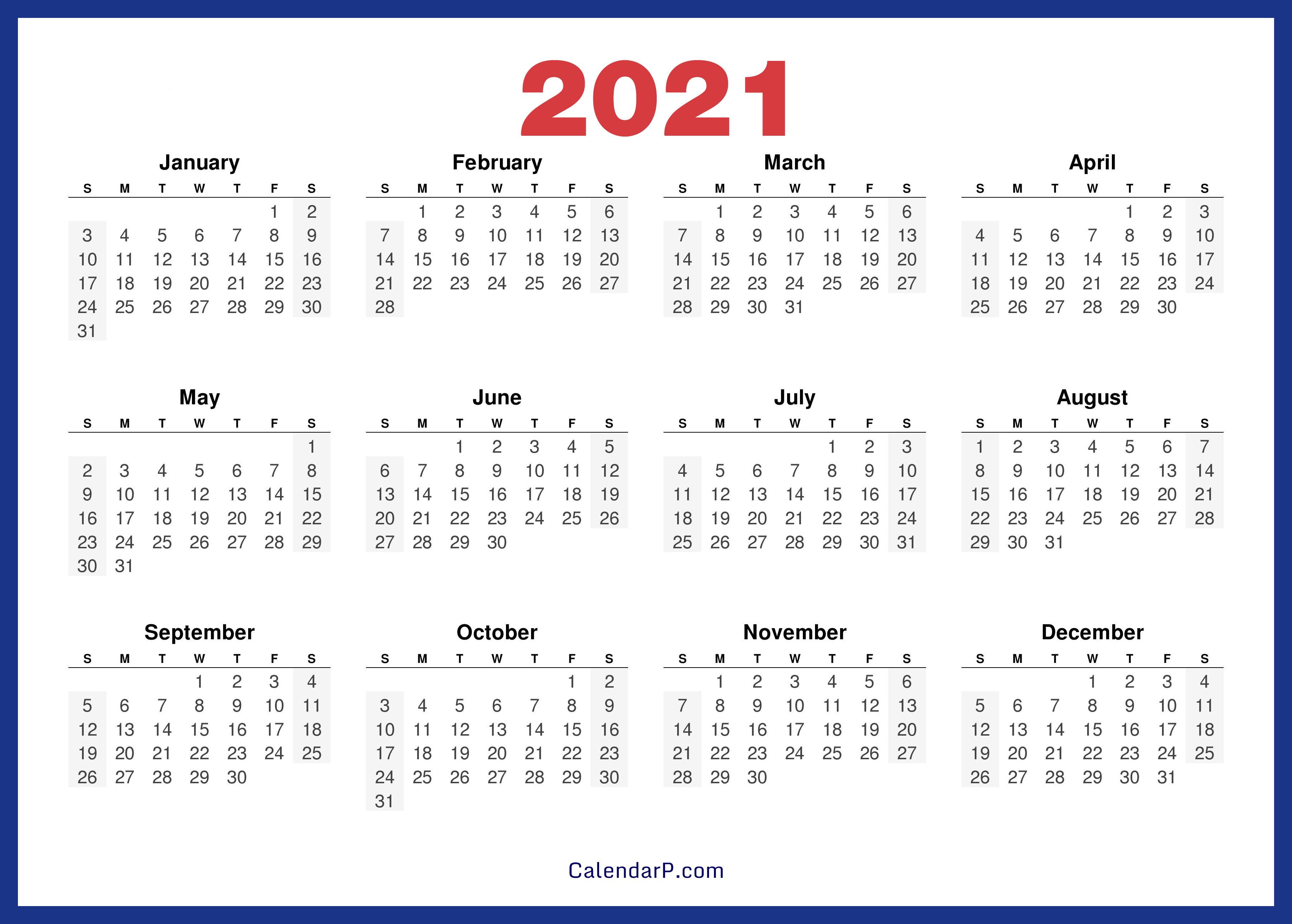 2021 Calendar Printable Free, HD - Navy Blue - CalendarP ...