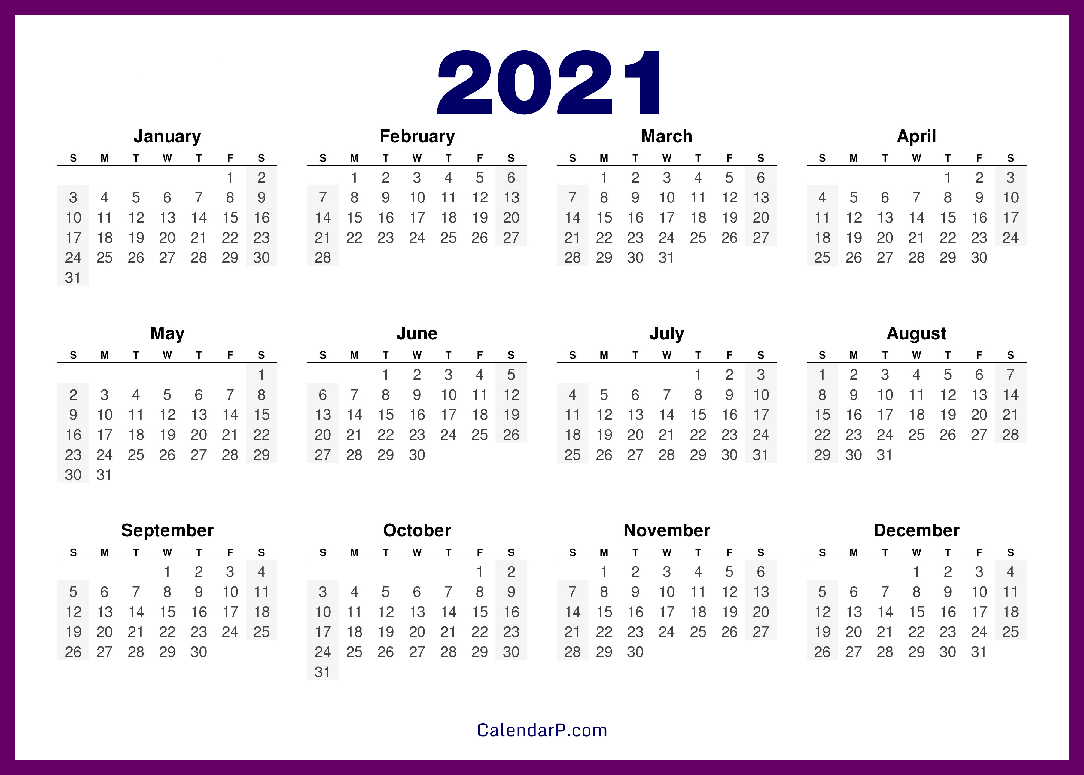 Images of Free 2021 Calendar Printables
