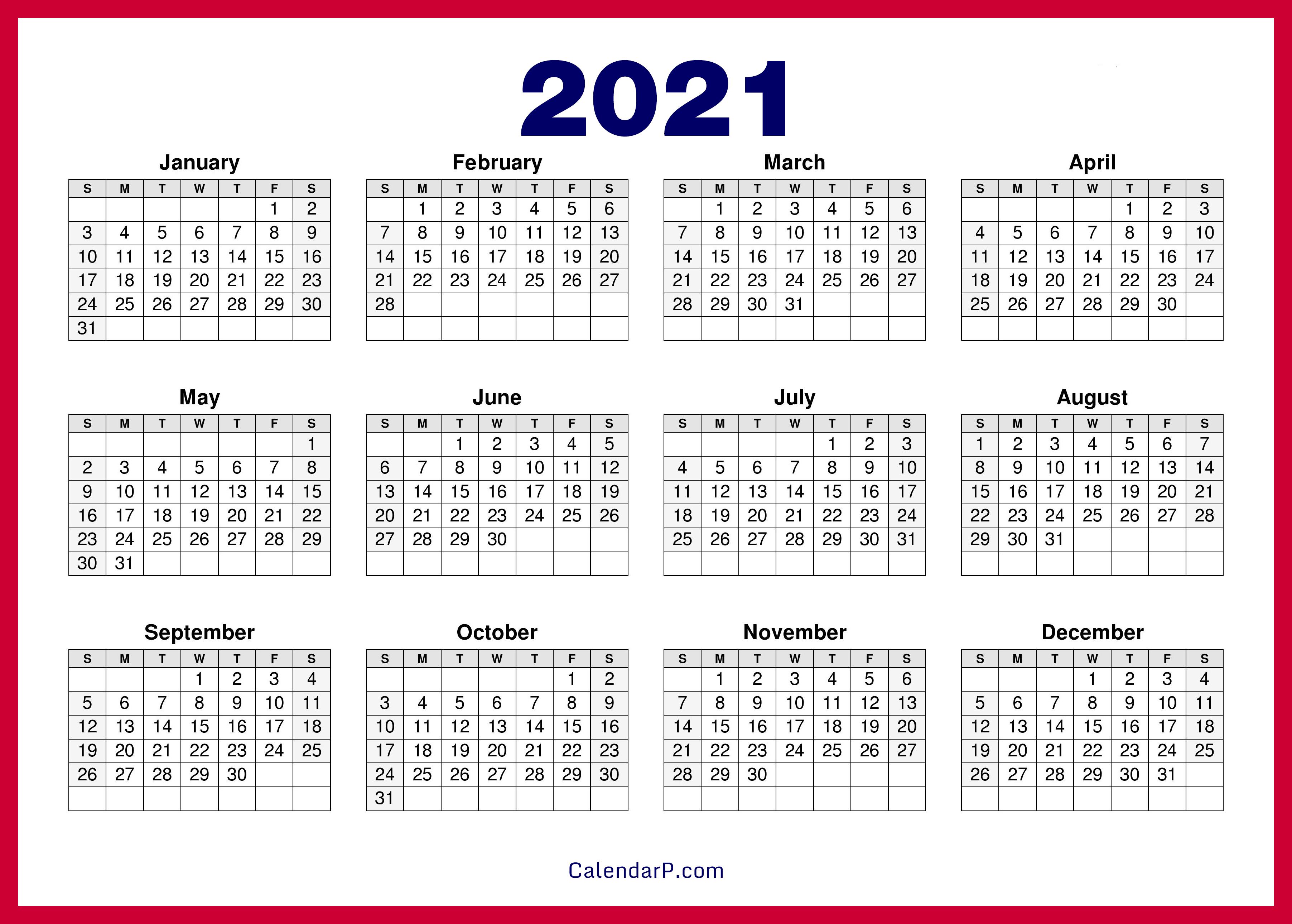 2021 Calendar Printable Free, HD - Red - CalendarP ...