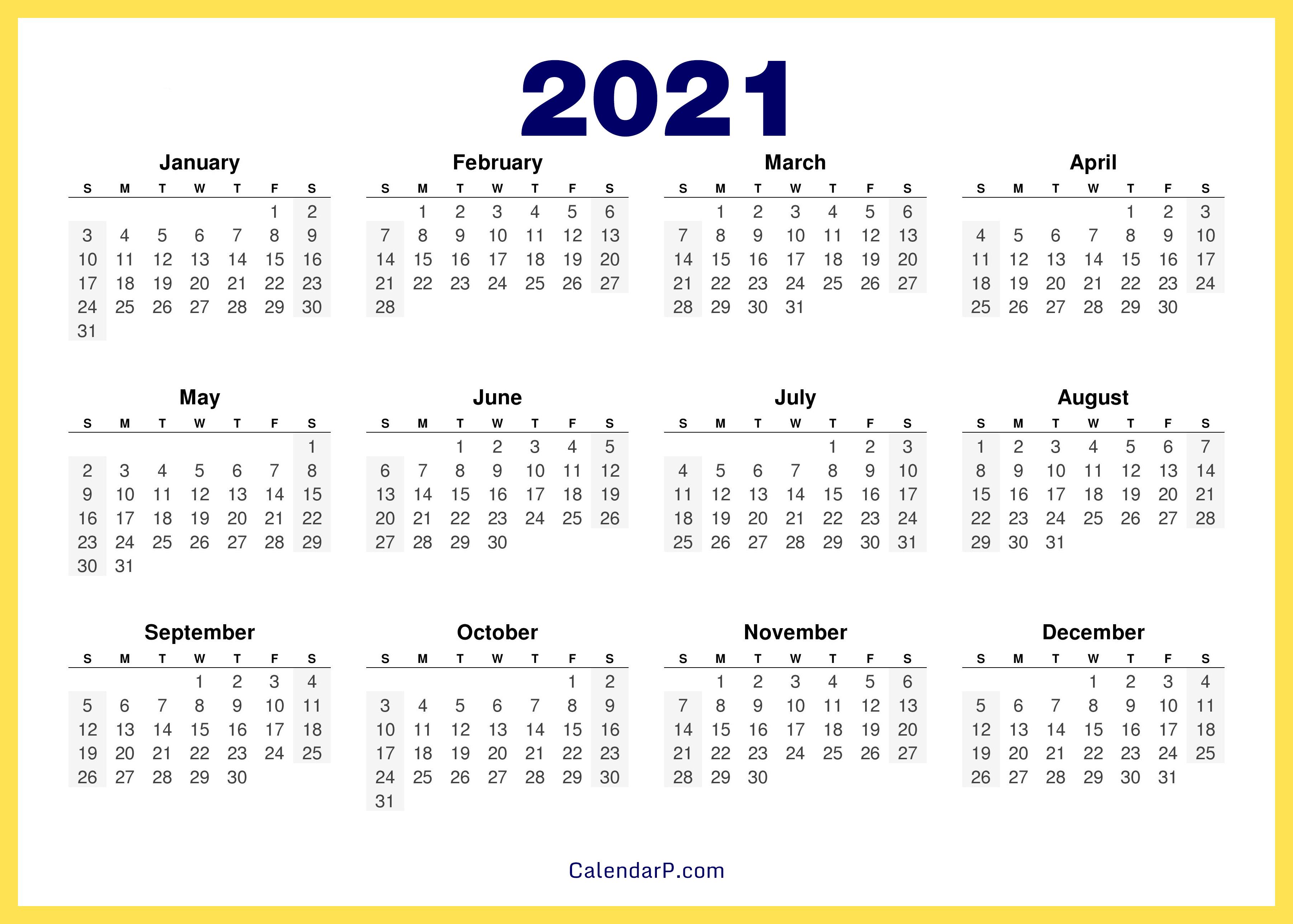 2021 Calendar Printable Free, HD - Yellow - CalendarP ...