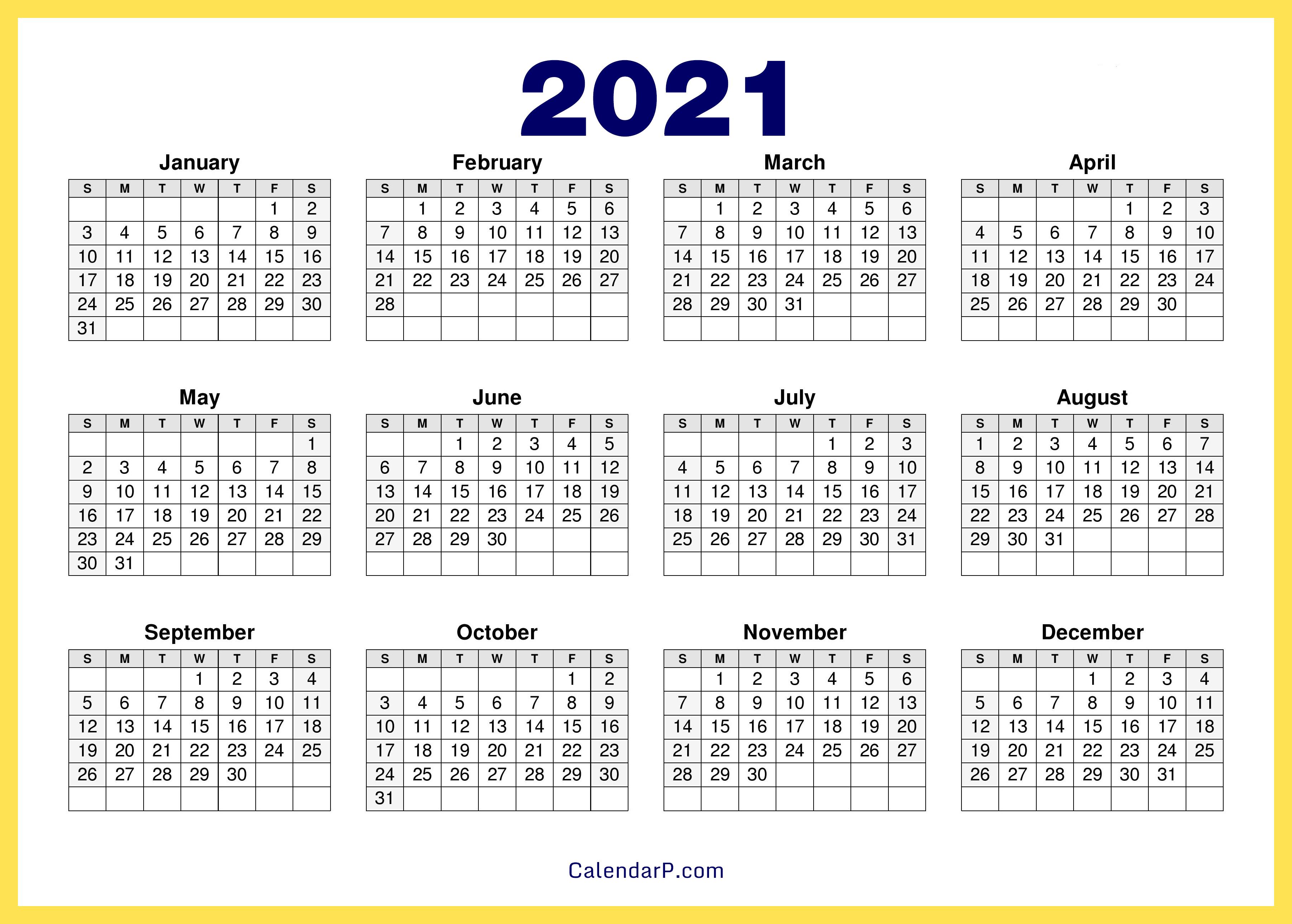 20 Calendar Printable Free, HD – Yellow – CalendarP   Printables